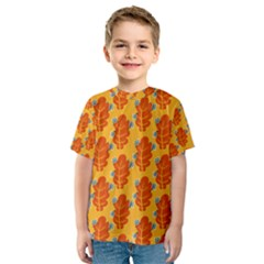 Bugs Eat Autumn Leaf Pattern Kids  Sport Mesh Tee