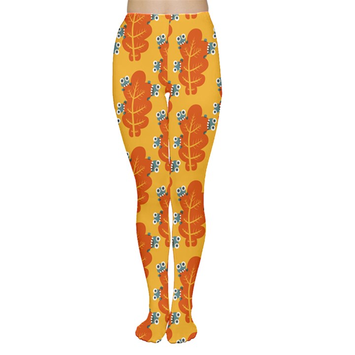 Bugs Eat Autumn Leaf Pattern Women s Tights