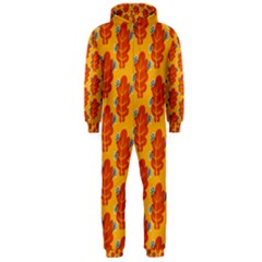 Bugs Eat Autumn Leaf Pattern Hooded Jumpsuit (Men)