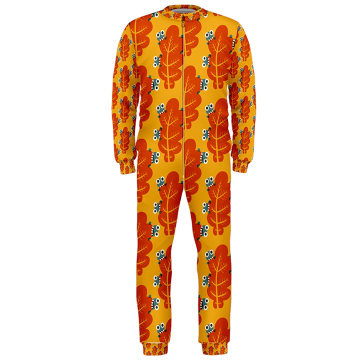 Bugs Eat Autumn Leaf Pattern OnePiece Jumpsuit (Men)