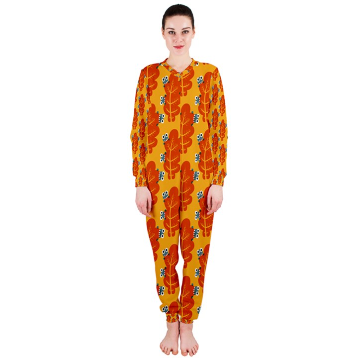 Bugs Eat Autumn Leaf Pattern OnePiece Jumpsuit (Ladies)