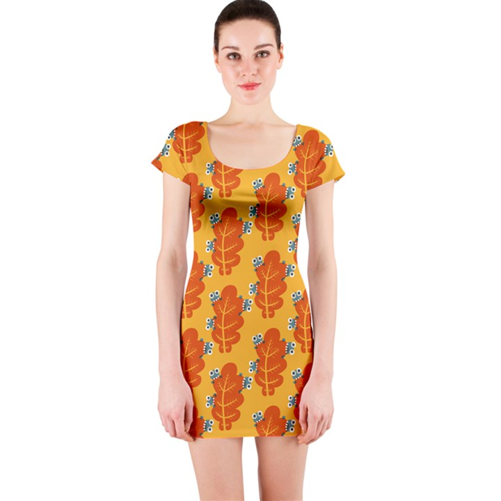 Bugs Eat Autumn Leaf Pattern Short Sleeve Bodycon Dress
