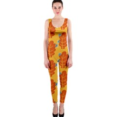 Bugs Eat Autumn Leaf Pattern OnePiece Catsuit