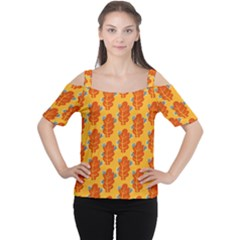 Bugs Eat Autumn Leaf Pattern Women s Cutout Shoulder Tee