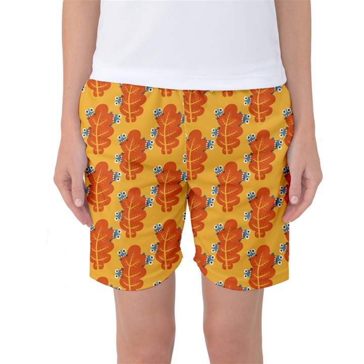 Bugs Eat Autumn Leaf Pattern Women s Basketball Shorts