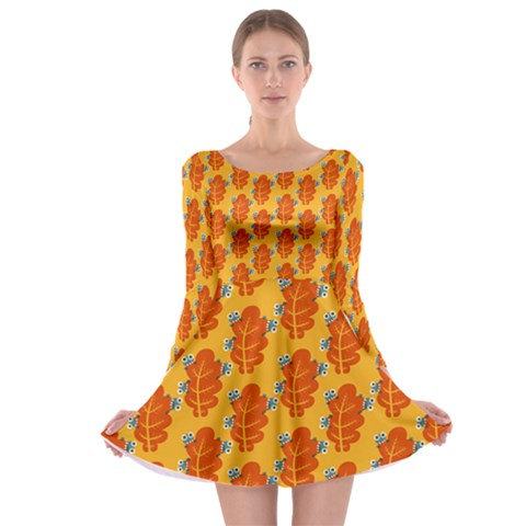 Bugs Eat Autumn Leaf Pattern Long Sleeve Skater Dress