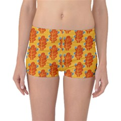 Bugs Eat Autumn Leaf Pattern Boyleg Bikini Bottoms