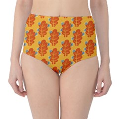 Bugs Eat Autumn Leaf Pattern High-Waist Bikini Bottoms