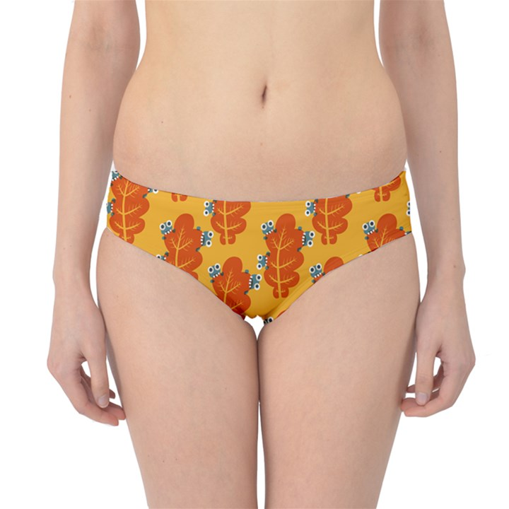 Bugs Eat Autumn Leaf Pattern Hipster Bikini Bottoms