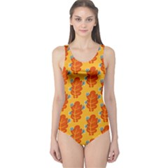 Bugs Eat Autumn Leaf Pattern One Piece Swimsuit