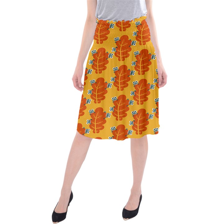 Bugs Eat Autumn Leaf Pattern Midi Beach Skirt