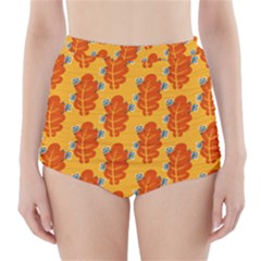 Bugs Eat Autumn Leaf Pattern High-Waisted Bikini Bottoms