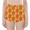 Bugs Eat Autumn Leaf Pattern High-Waisted Bikini Bottoms View1