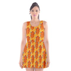 Bugs Eat Autumn Leaf Pattern Scoop Neck Skater Dress