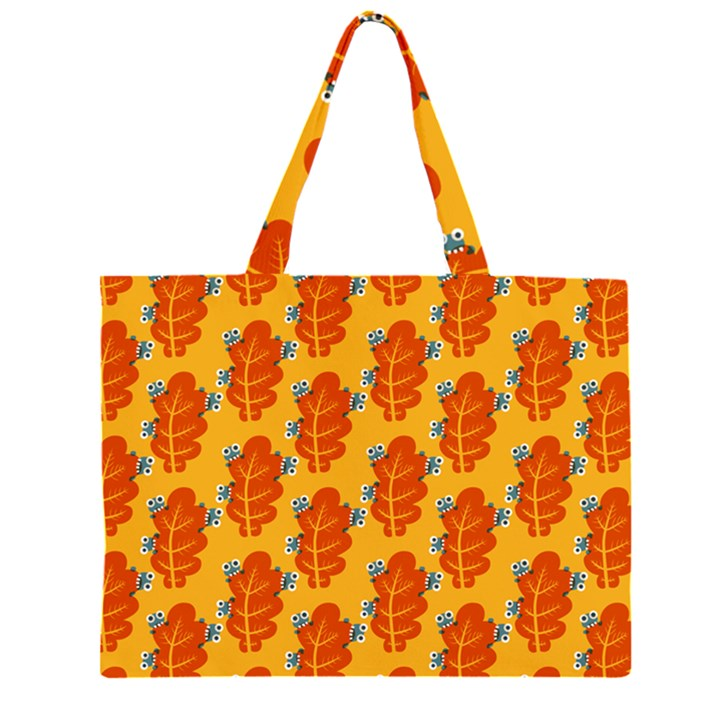 Bugs Eat Autumn Leaf Pattern Large Tote Bag
