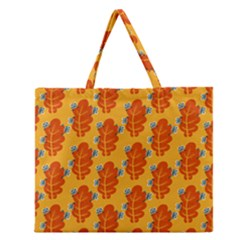 Bugs Eat Autumn Leaf Pattern Zipper Large Tote Bag