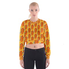 Bugs Eat Autumn Leaf Pattern Women s Cropped Sweatshirt