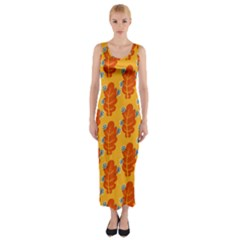 Bugs Eat Autumn Leaf Pattern Fitted Maxi Dress