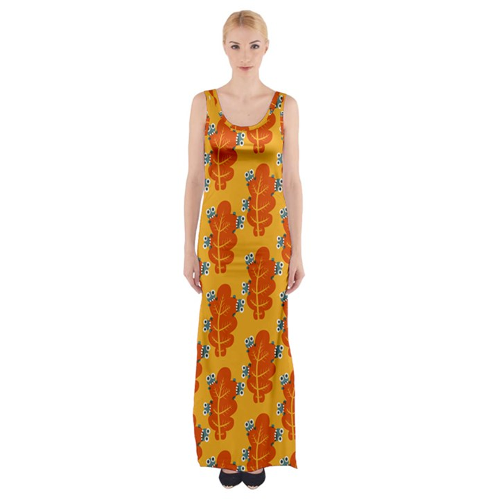 Bugs Eat Autumn Leaf Pattern Maxi Thigh Split Dress