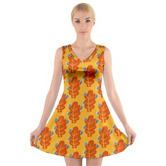 Bugs Eat Autumn Leaf Pattern V Neck Sleeveless Skater Dress