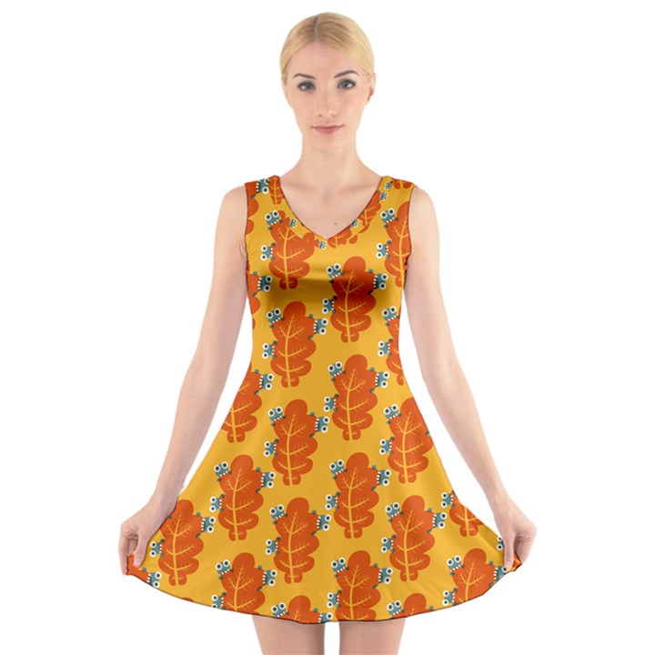 Bugs Eat Autumn Leaf Pattern V-Neck Sleeveless Skater Dress
