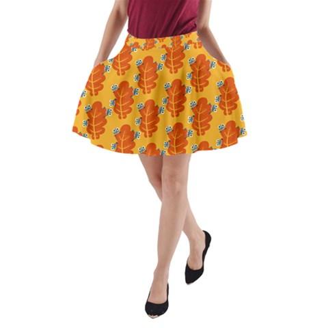 Bugs Eat Autumn Leaf Pattern A-Line Pocket Skirt