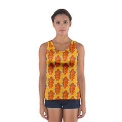 Bugs Eat Autumn Leaf Pattern Women s Sport Tank Top