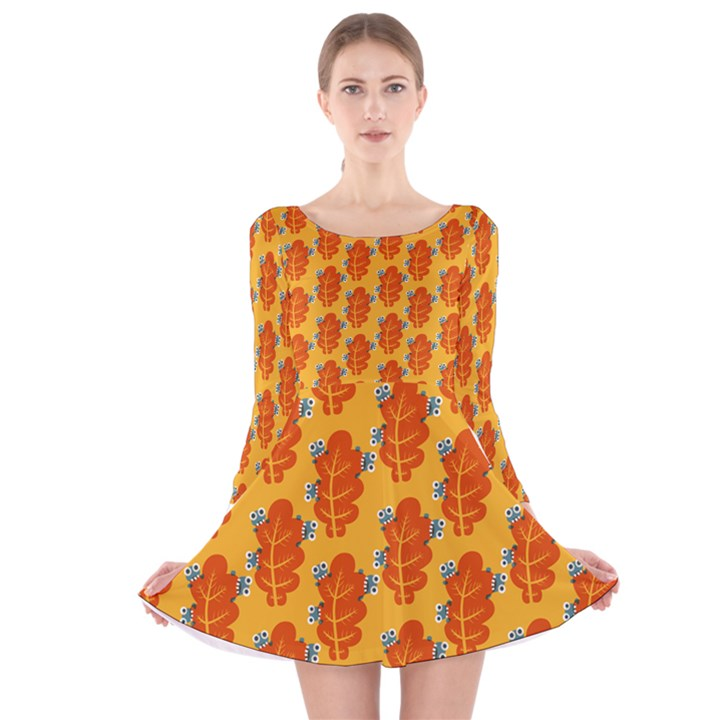 Bugs Eat Autumn Leaf Pattern Long Sleeve Velvet Skater Dress