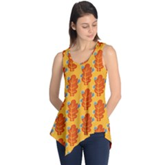 Bugs Eat Autumn Leaf Pattern Sleeveless Tunic