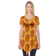 Bugs Eat Autumn Leaf Pattern Short Sleeve Tunic