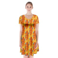 Bugs Eat Autumn Leaf Pattern Short Sleeve V Neck Flare Dress