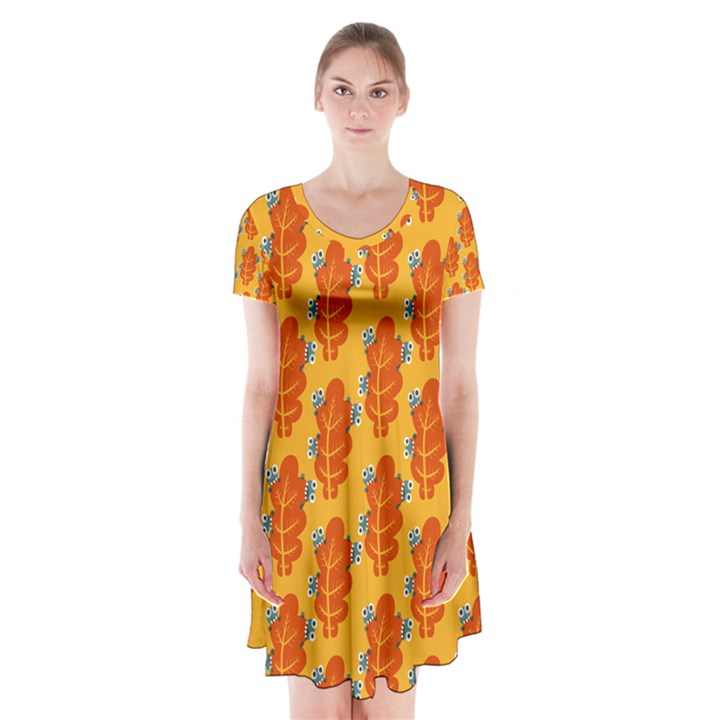 Bugs Eat Autumn Leaf Pattern Short Sleeve V-neck Flare Dress