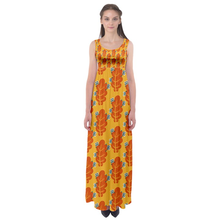 Bugs Eat Autumn Leaf Pattern Empire Waist Maxi Dress
