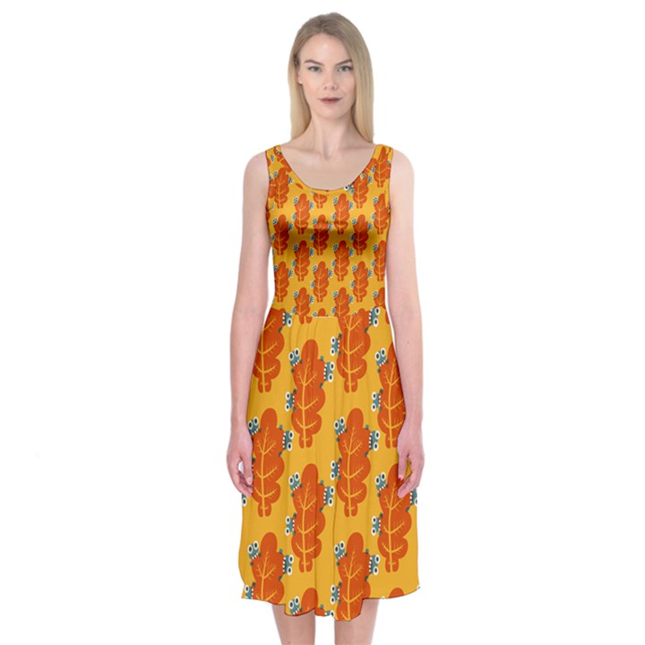 Bugs Eat Autumn Leaf Pattern Midi Sleeveless Dress