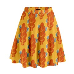 Bugs Eat Autumn Leaf Pattern High Waist Skirt