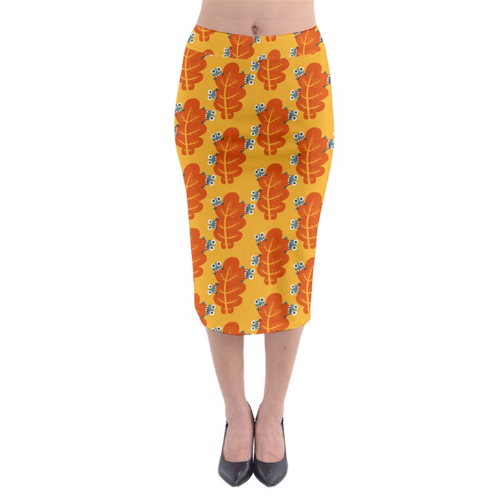 Bugs Eat Autumn Leaf Pattern Midi Pencil Skirt