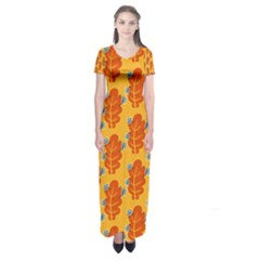 Bugs Eat Autumn Leaf Pattern Short Sleeve Maxi Dress