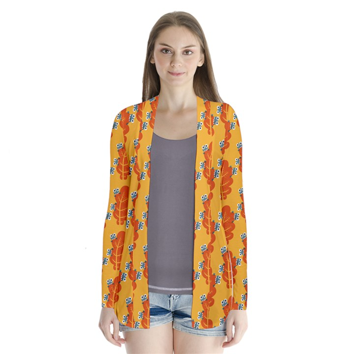 Bugs Eat Autumn Leaf Pattern Drape Collar Cardigan
