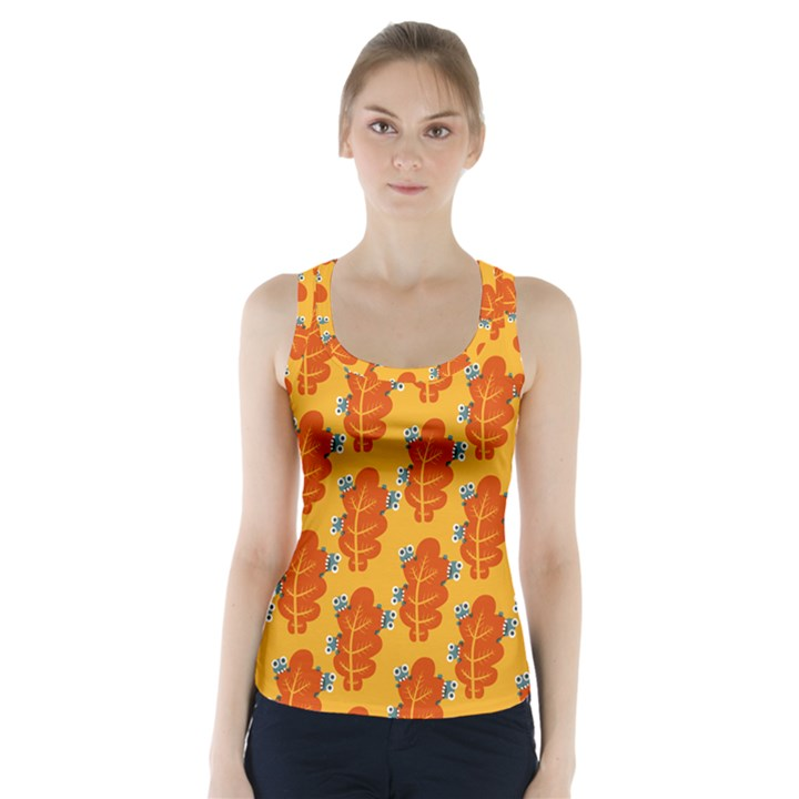 Bugs Eat Autumn Leaf Pattern Racer Back Sports Top