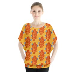 Bugs Eat Autumn Leaf Pattern Blouse