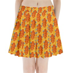 Bugs Eat Autumn Leaf Pattern Pleated Mini Skirt