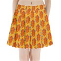 Bugs Eat Autumn Leaf Pattern Pleated Mini Skirt View1
