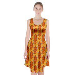 Bugs Eat Autumn Leaf Pattern Racerback Midi Dress