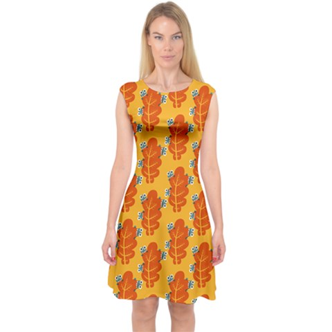 Bugs Eat Autumn Leaf Pattern Capsleeve Midi Dress