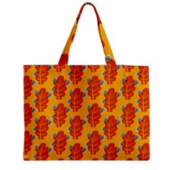 Bugs Eat Autumn Leaf Pattern Medium Zipper Tote Bag