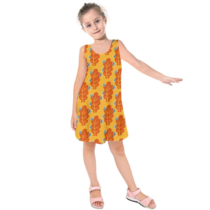 Bugs Eat Autumn Leaf Pattern Kids  Sleeveless Dress