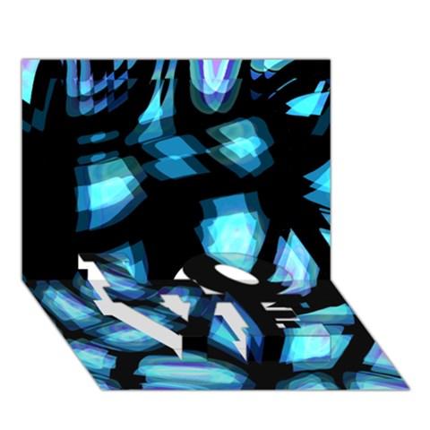 Blue light LOVE Bottom 3D Greeting Card (7x5)