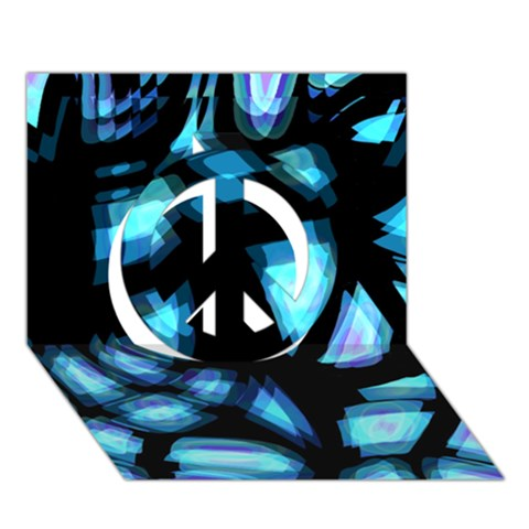 Blue light Peace Sign 3D Greeting Card (7x5)