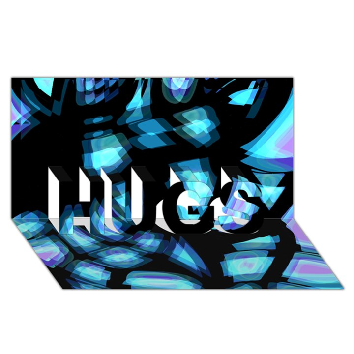Blue light HUGS 3D Greeting Card (8x4)