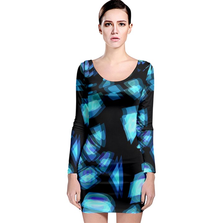 Blue light Long Sleeve Bodycon Dress